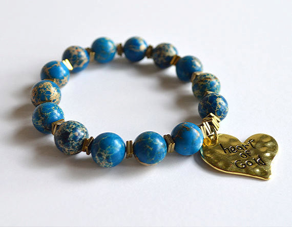 HEART OF GOLD - Blue Jasper Beads Bracelet with Heart Charm