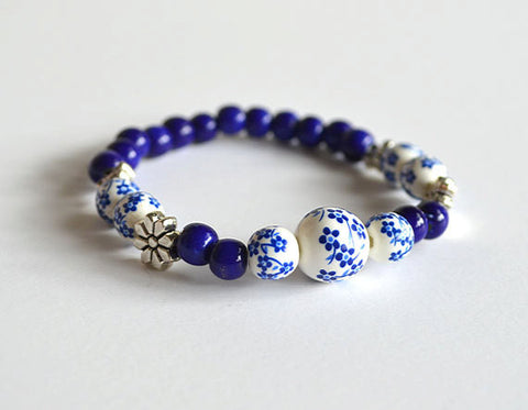 FLOWERS Beads Bracelet - Blue White Womens Bracelet Beaded, handmade