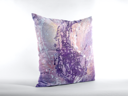 Lilac Purple Artsy THROW PILLOW Abstract Pastel Colors