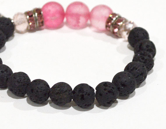 LOVE Lava Beaded Diffuser Bracelet Black w Pink Accent Beads & Rhinestones, stretchy beaded bracelet