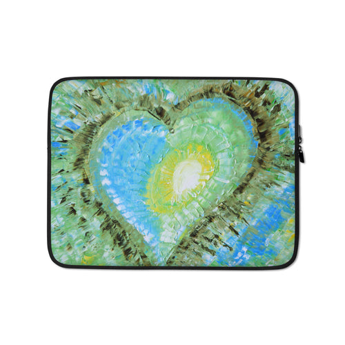 Colorful Abstract Heart LAPTOP SLEEVE Pouch Green Blue Artsy