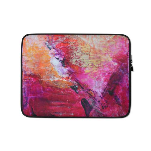 Pink Orange Abstract LAPTOP SLEEVE Cover Heart Art
