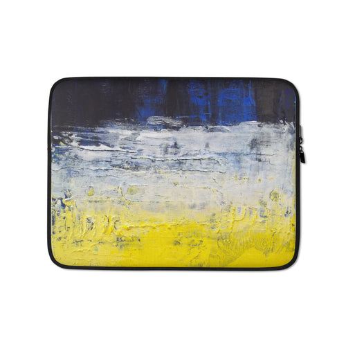 Grungy LAPTOP SLEEVE Cover Yellow Blue Abstract Art