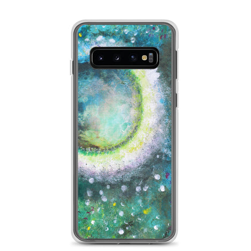 PHONE CASE Cover with Moon for Galaxy - Green Abstract Artsy