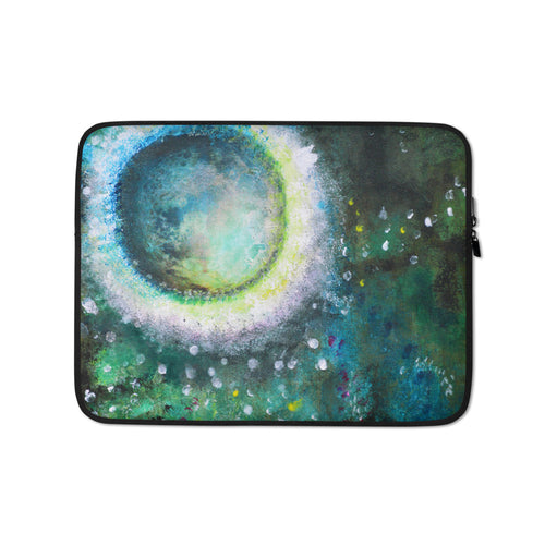 Green LAPTOP SLEEVE with Moon Abstract Art Painting unique