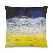 Grunge Style Yellow Blue THROW PILLOW abstract