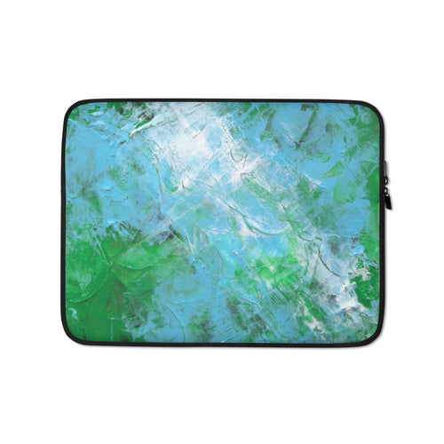 Blue Green Abstract Artsy LAPTOP SLEEVE Cover Painting