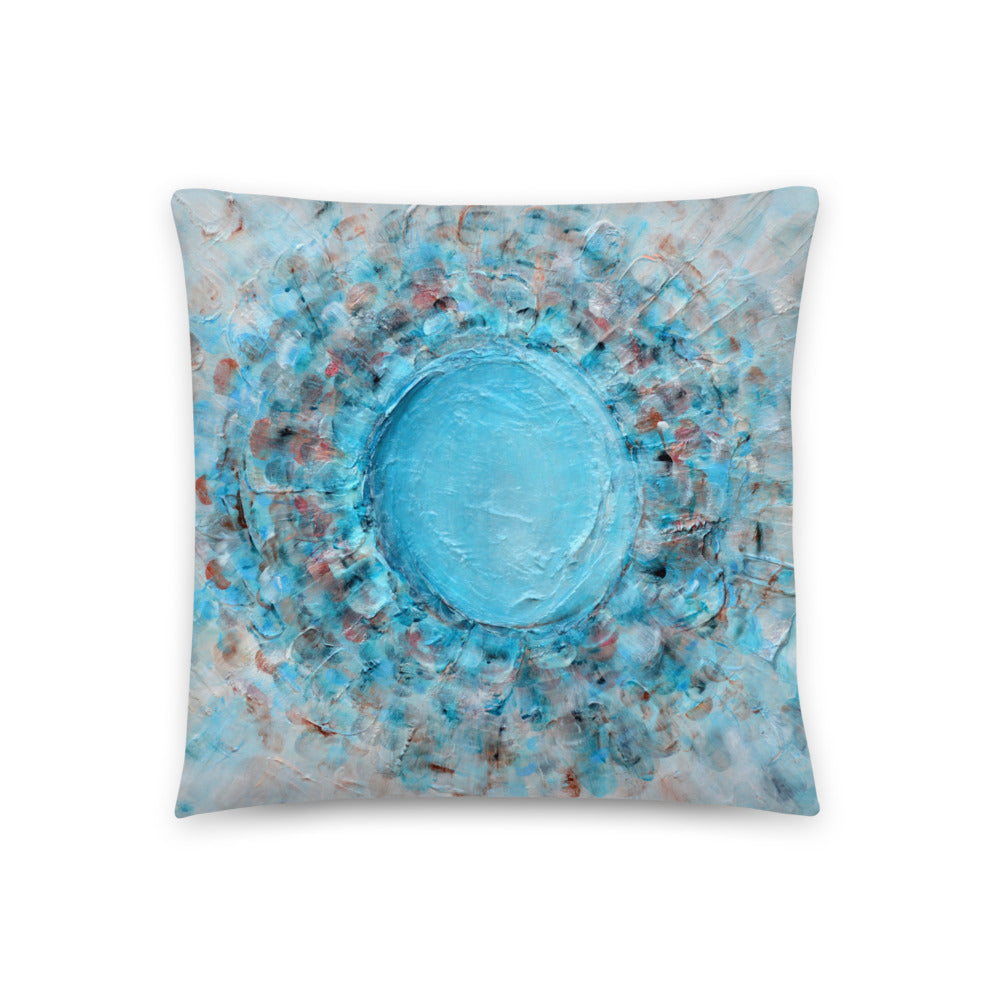 THROW PILLOW Floral Abstract Bubble Crater in Aqua Blue Shades