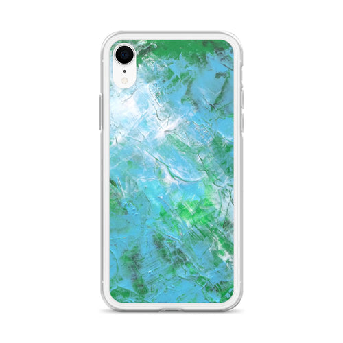 Abstract IPHONE CASE printed with Light Blue & Green Unique Art