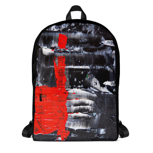 Black and White BACKPACK with Red Abstract Accent Color