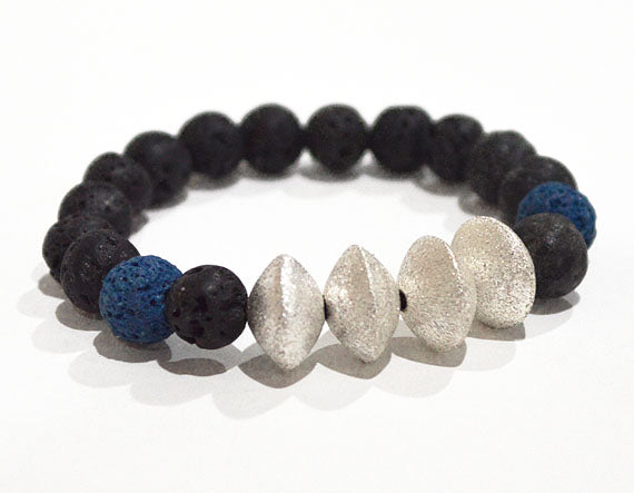 LAVA BEAD Bracelet, Black with Blue & Silver Accent Beads