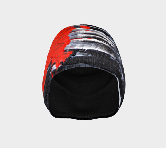 Abstract Red Black White Beanie 1069