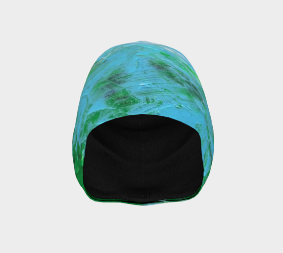 Abstract Light Blue Green Beanie 1047