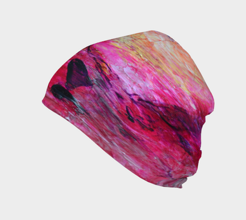 Abstract Heart - Pink Orange Fuchsia Beanie 1067