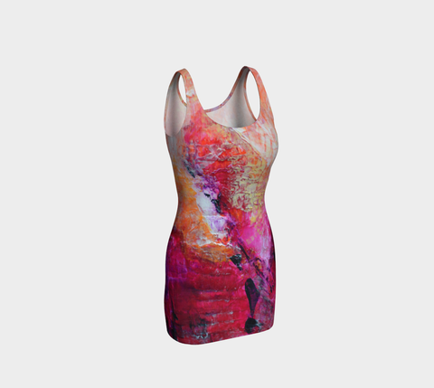 Abstract Heart - Pink Orange Fuchsia Bodycon Dress 1067