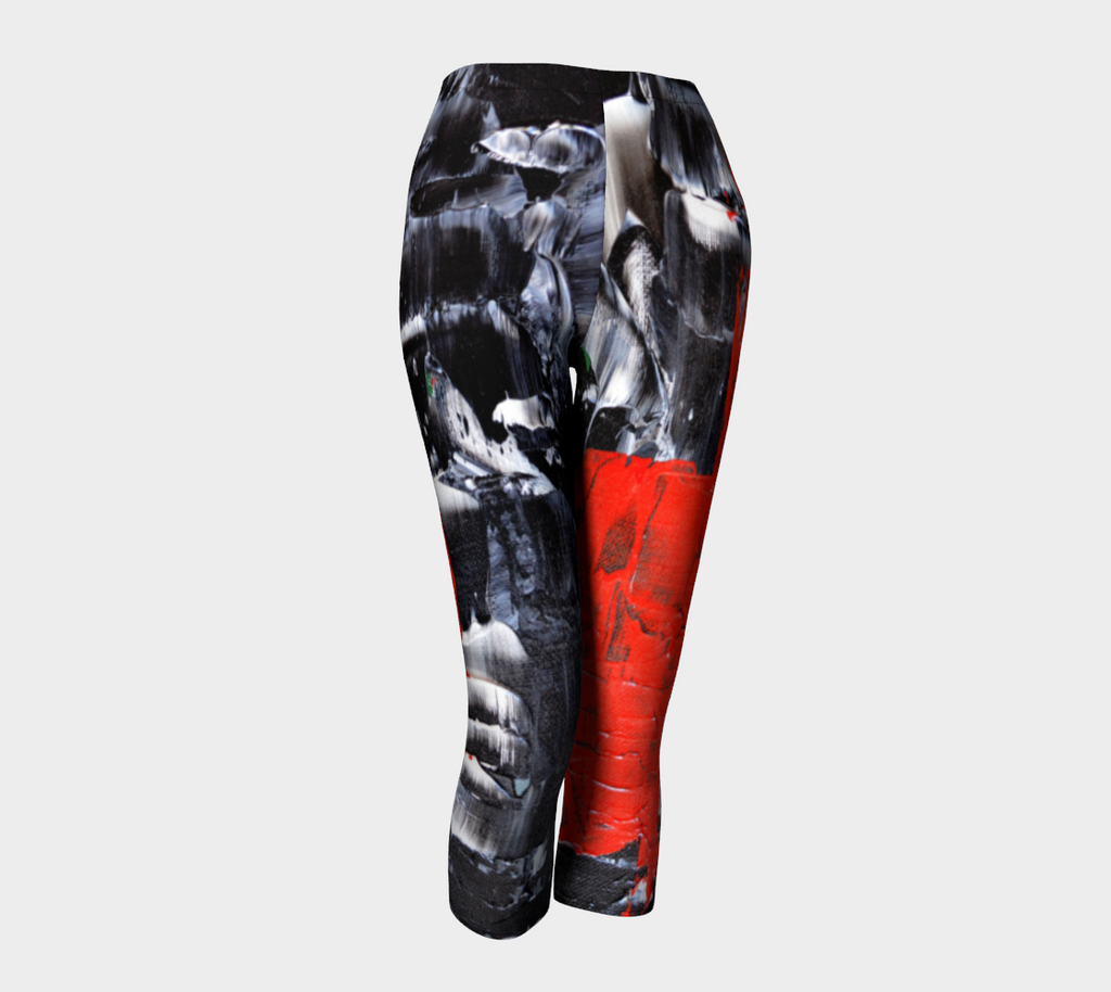 Abstract Red Black White Capris 1069