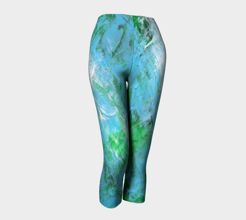 Abstract Light Blue Green Capris 1047