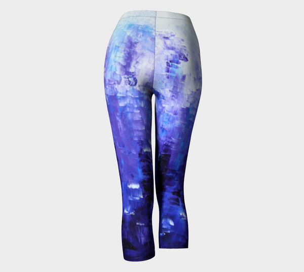 Abstract Indigo Blue Capris #1022