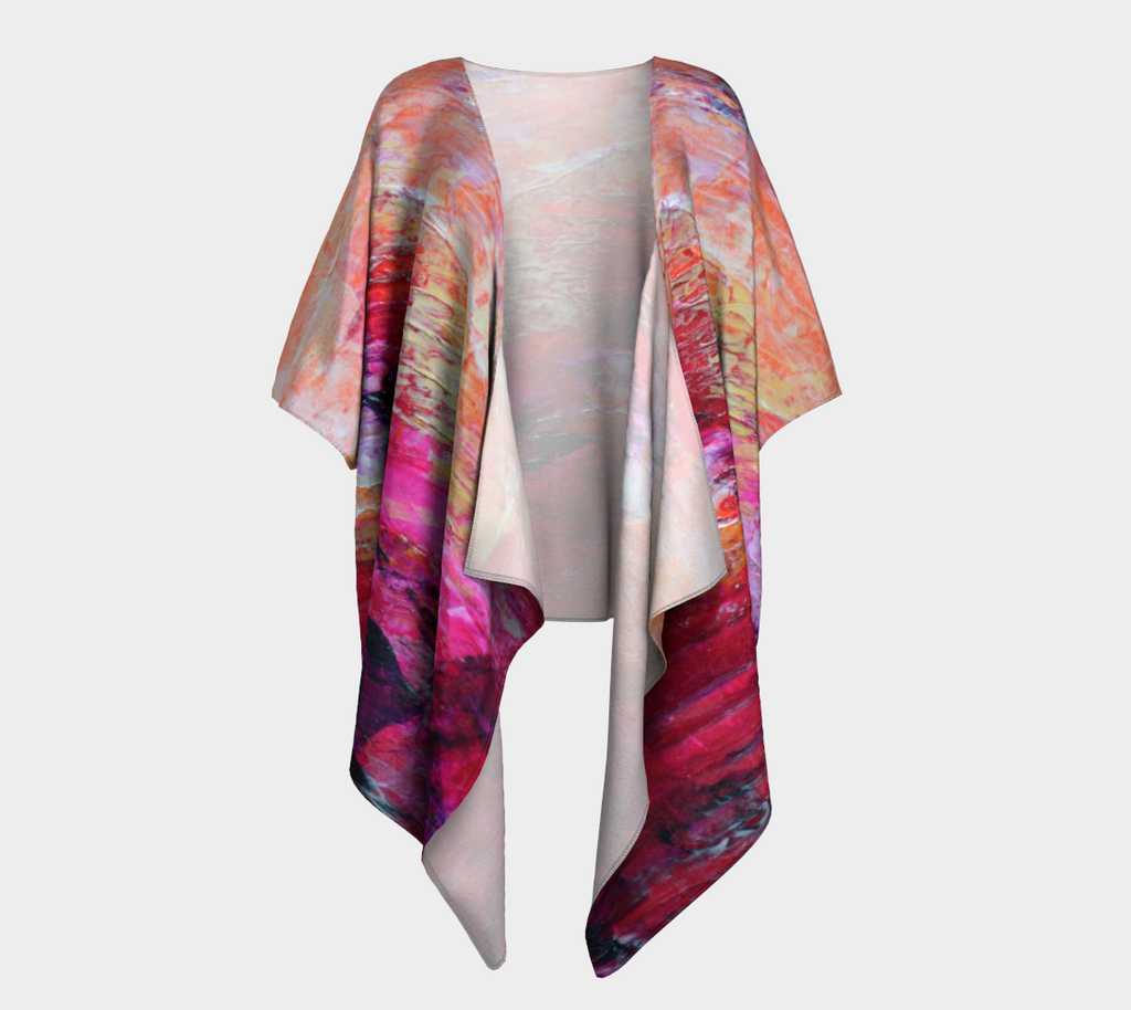 Abstract Heart - Pink Orange Fuchsia Draped Kimono 1067
