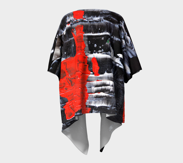Abstract Red Black White Draped Kimono 1069