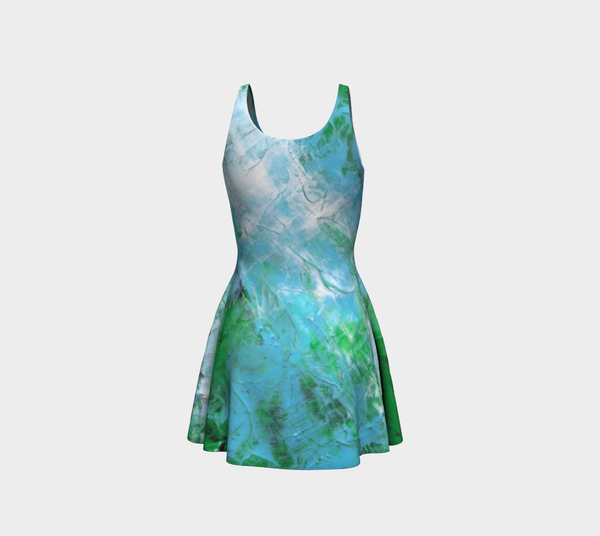 Abstract Light Blue Green Flare Dress 1047