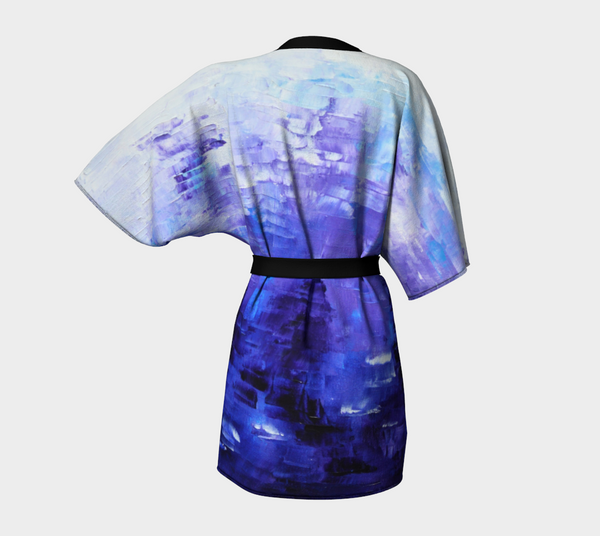 Abstract Indigo Blue Kimono Robe #1022