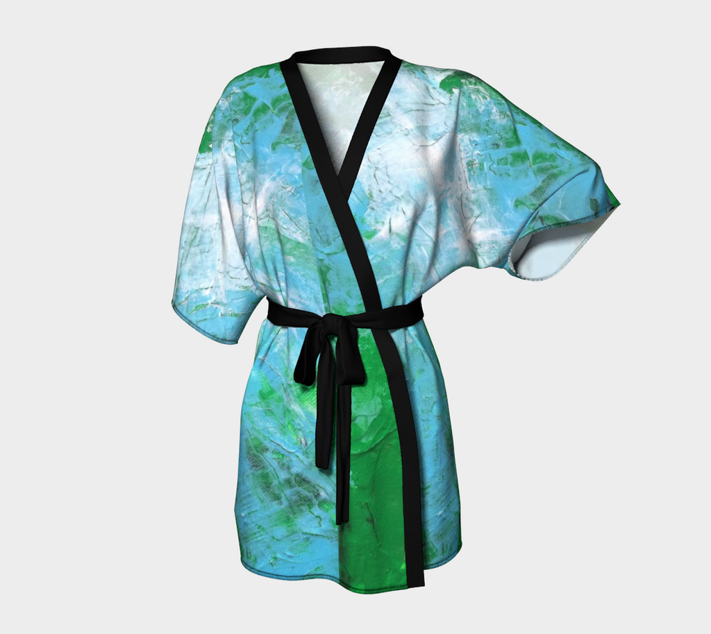 Abstract Light Blue Green Kimono Robe 1047