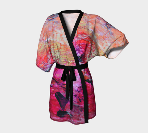 Abstract Heart - Pink Orange Fuchsia Kimono Robe 1067