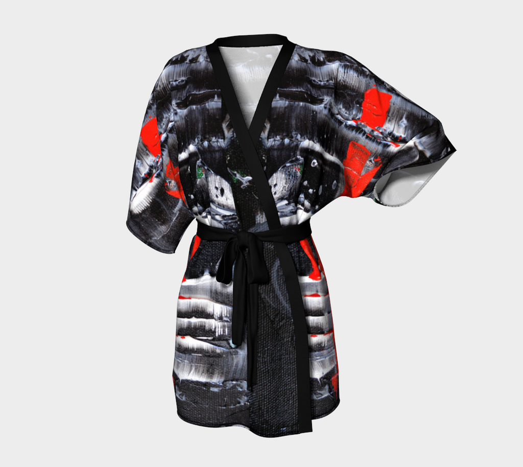 Abstract Red Black White Kimono Robe 1069