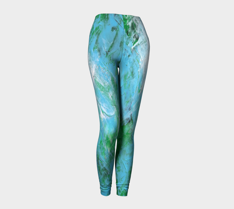 Abstract Light Blue Green Leggings 1047