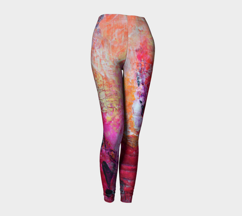 Abstract Orange Pink Fuchsia Leggings 1067