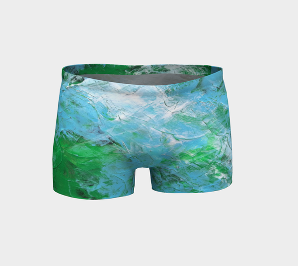 Abstract Light Blue Green Shorts 1047