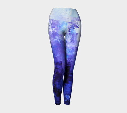 Abstract Indigo Blue Yoga Leggings #1022