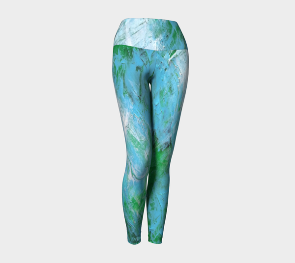 Abstract Light Blue Green Yoga Leggings 1047