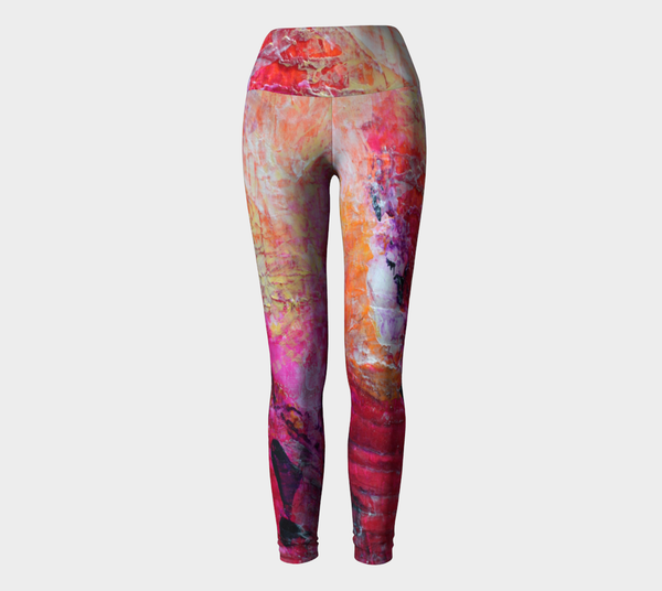 Abstract Heart - Pink Orange Fuchsia Yoga Leggings 1067
