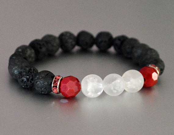 LAVA Beaded Diffuser Bracelet Black w White & Red Accent Beads & Pink Rhinestones, stretchy