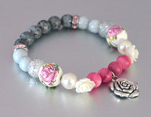 ROSES Bracelet w Pink, Gray, White, Rhinestone Beads - Roses Jewelry Flowers