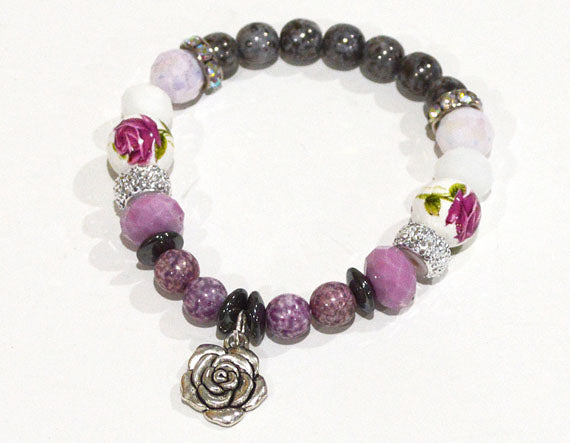 ROSES Charm Bracelet with Rhinestone Beads - Roses Jewelry Flowers - Romantic Gifts for Mom Stretch Beaded Bracelet Flower Gift for her