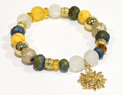 SUN Charm Bracelet - Sunny yellow gold blue-green Stretch Beaded Bracelet Summer Gifts for her