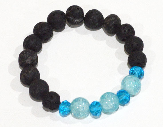 LAVA BEAD Bracelet, black with Aqua Blue Accent Beads