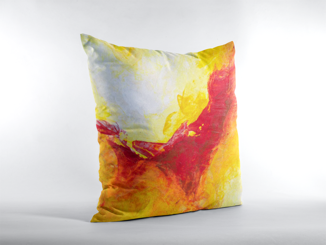 Bold Accent Throw Pillow Yellow Red Abstract Chakramoon Arts Design