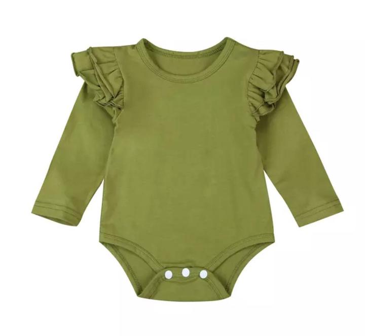 Long Sleeved Flutter Bodysuit-Olive