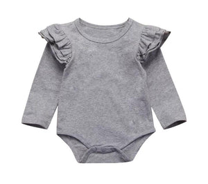 Long Sleeved Flutter Bodysuit-Grey