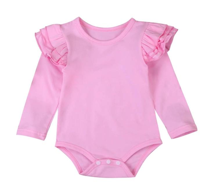 Long Sleeved Flutter Bodysuit-Pink