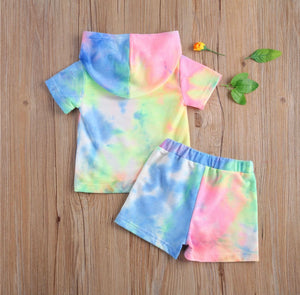Tie-Dye Hooded Tee & Shorts Set - 3 Colours
