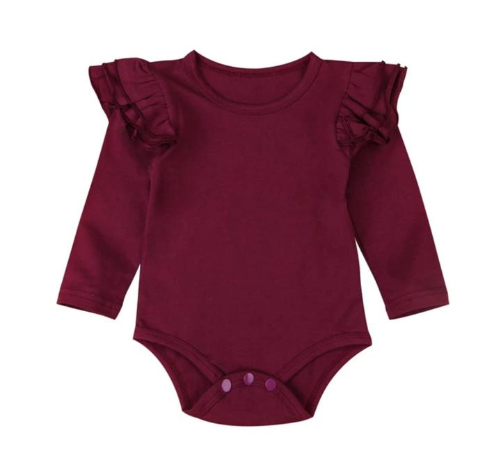 Long Sleeved Flutter Bodysuit-Red Wine