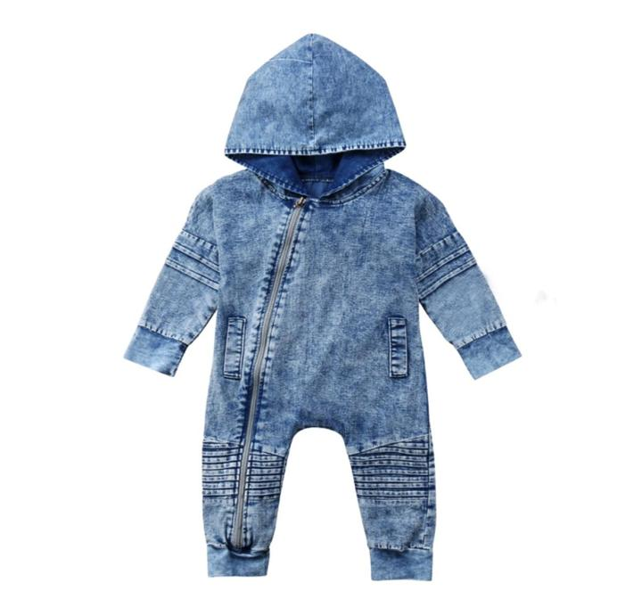 Acid Wash Hooded Onesie