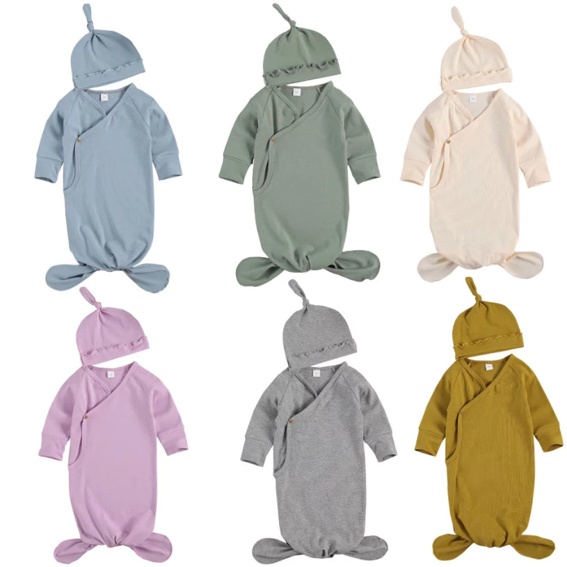 Swaddle + Beanie - 6 Colours