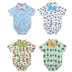 Bow Tie Collared Romper - 4 Styles