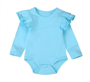 Long Sleeved Flutter Bodysuit -Blue